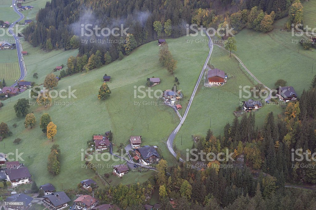 Aerial view of village in Bernese Oberland, Autumn royalty-free stock photo