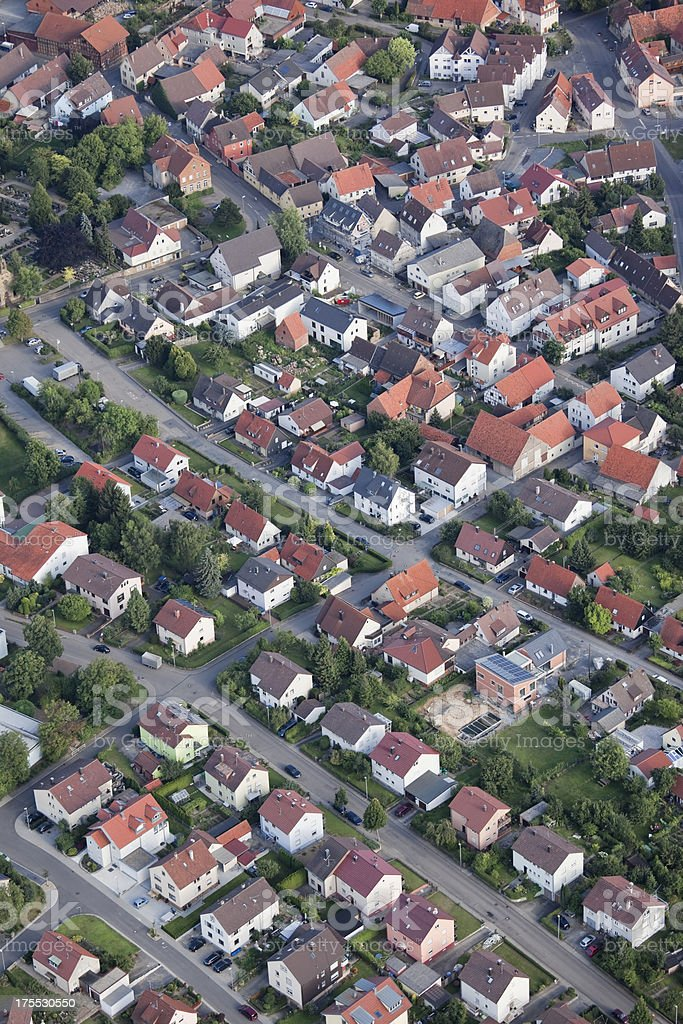 Aerial view of village in Germany stock photo