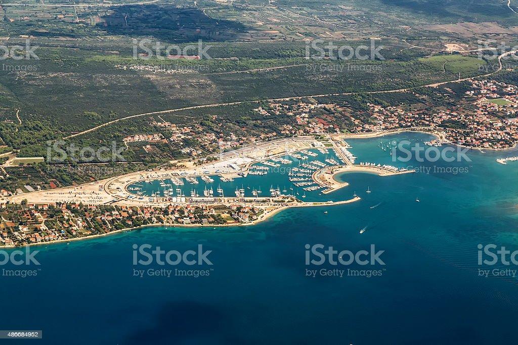 Aerial view of village Sukosan and marina Dalmacija, Croatia stock photo
