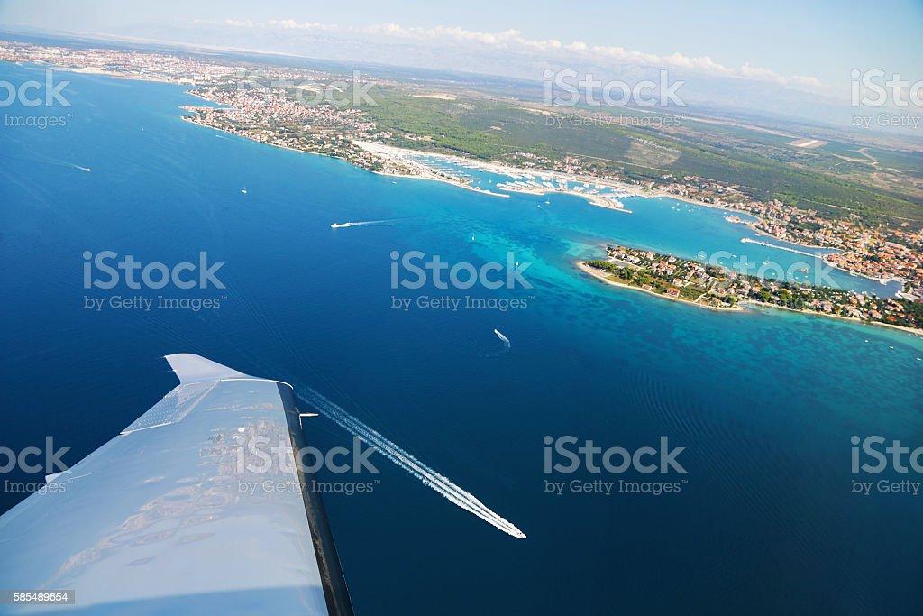 Aerial view of village Sukosan and marina Dalmacija stock photo