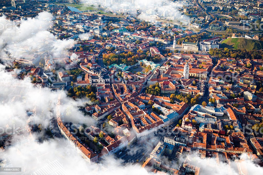 Aerial view of Vilnius, Lithuania. stock photo