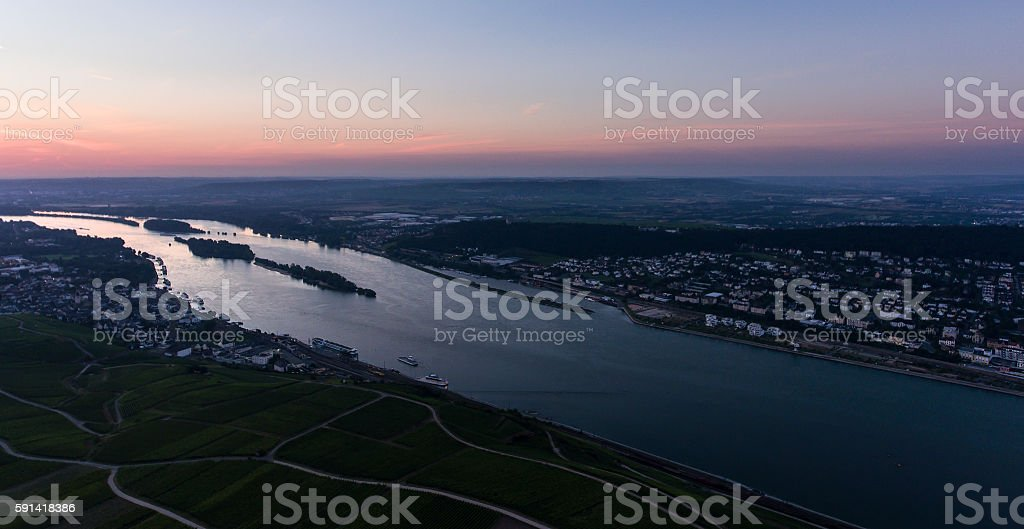Aerial view of vineyards and River Rhine, Ruedesheim stock photo