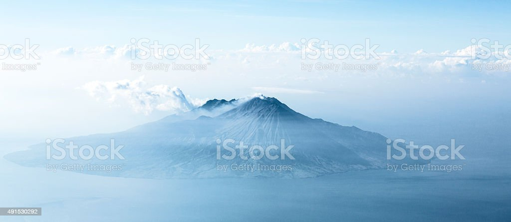 Aerial view of volcano in Indonesia stock photo