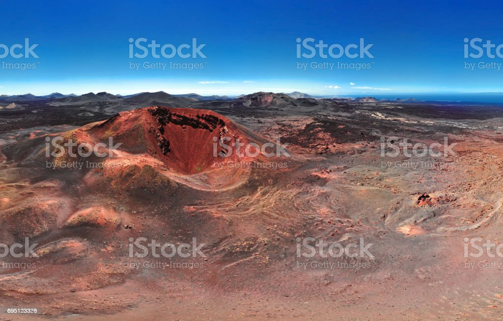 Aerial view of volcano, Timanfaya National Park, Lanzarote, Canary Islands stock photo