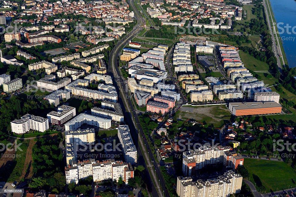 Aerial view of Vrbani stock photo