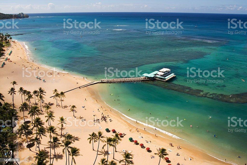 Aerial view of Waikiki beach royalty-free stock photo