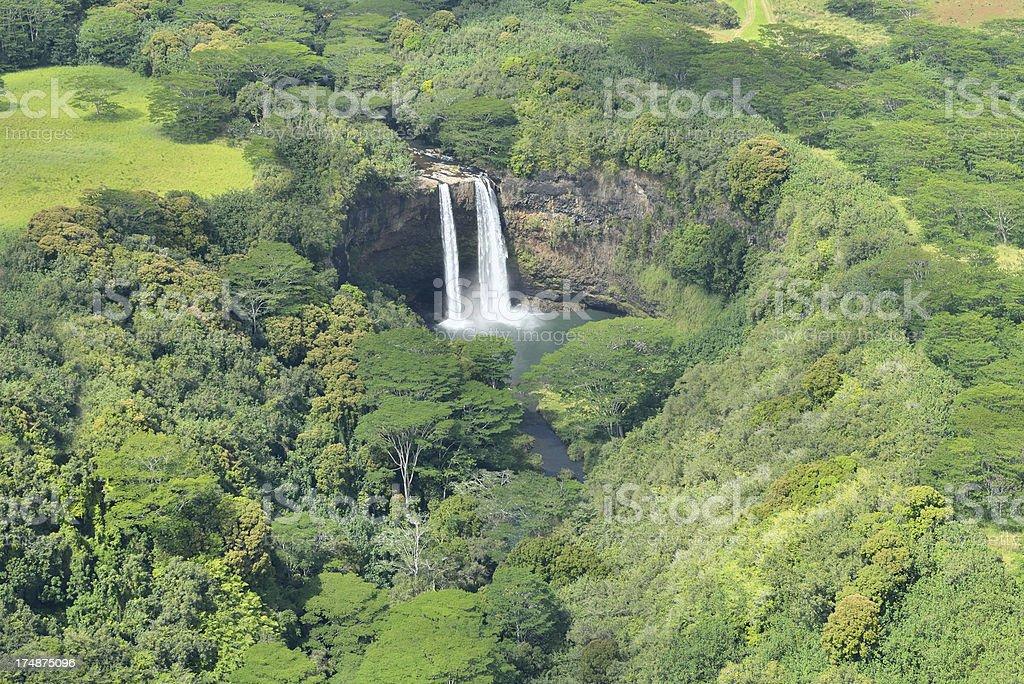 Aerial View of Wailua Falls in Kauai, Hawaii, USA royalty-free stock photo