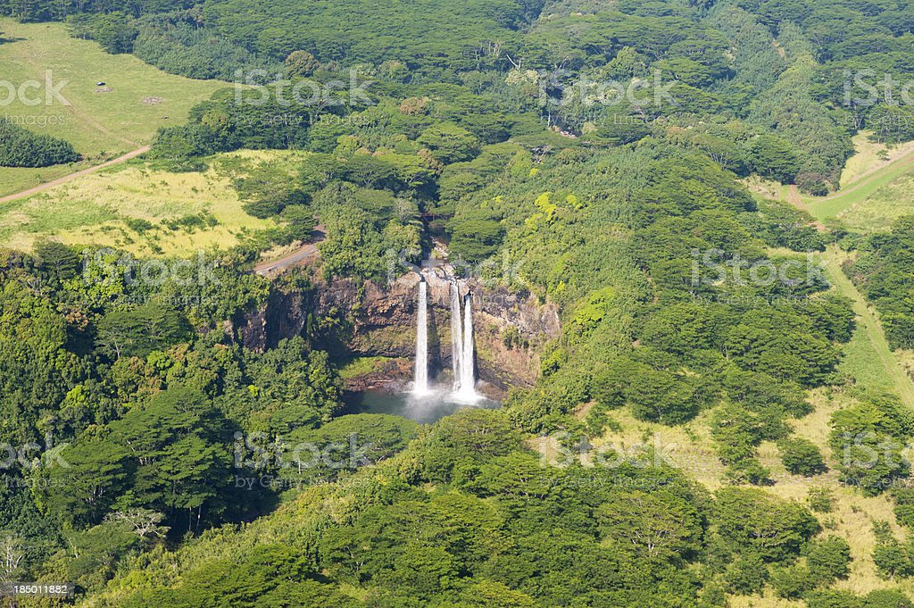 Aerial view of Wailua Falls stock photo