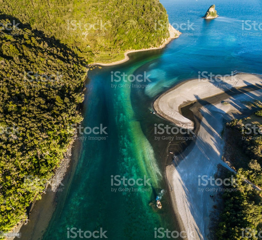 Aerial View Of Waiwera Beach, North Auckland, New Zealand. stock photo
