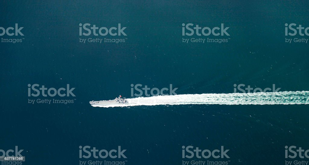Aerial view of war ship stock photo