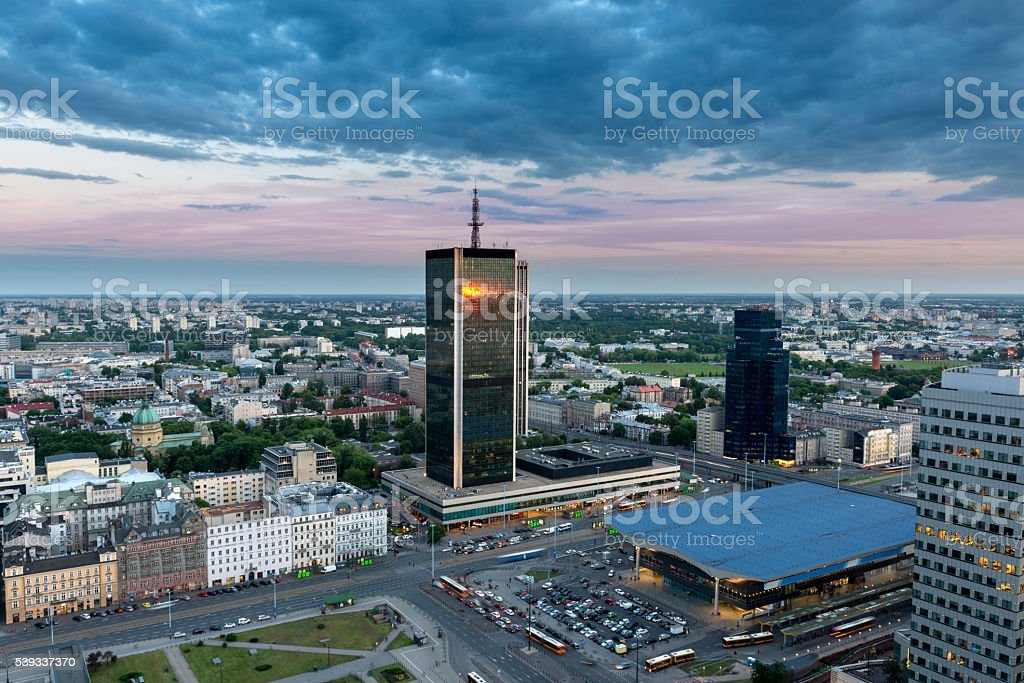 Aerial view of Warsaw downtown at dusk time stock photo