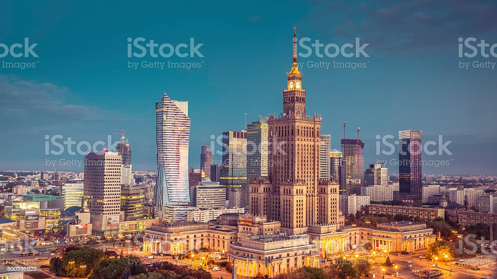 Aerial view of Warsaw Downtown, Poland stock photo