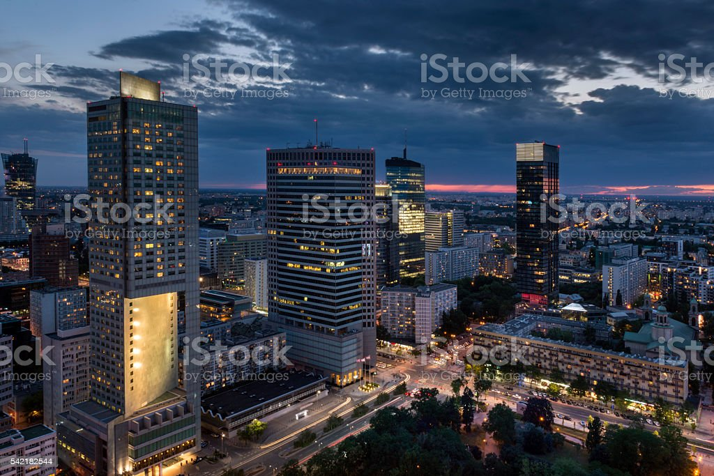 Aerial view of  Warsaw  Financial Center at night stock photo
