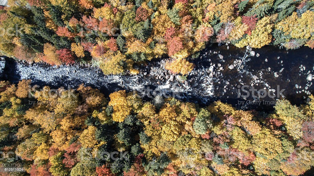 Aerial View of Waterfall in Autumn Forest Nature, Quebec, Canada stock photo