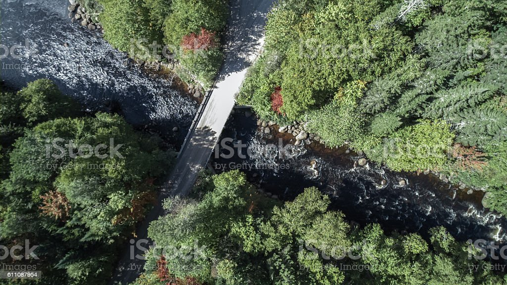 Aerial View of Waterfall in Forest Nature, Quebec, Canada stock photo