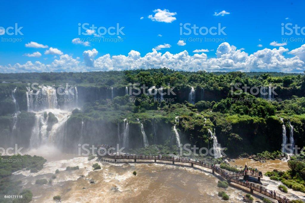 Aerial view of waterfalls cascade of Iguazu Falls stock photo