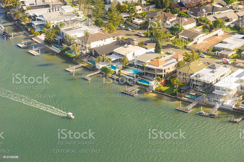 Aerial view of waterfront houses in Gold Coast, Australia stock photo
