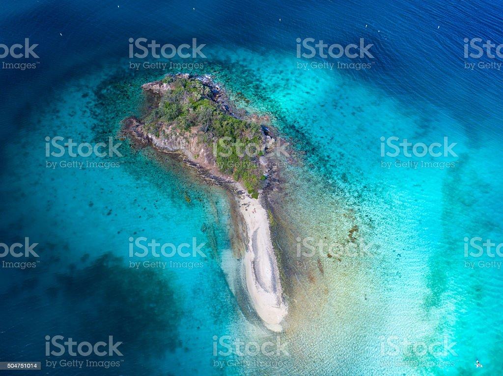 aerial view of Waterlemon Cay, St.John, US Virgin Islands stock photo
