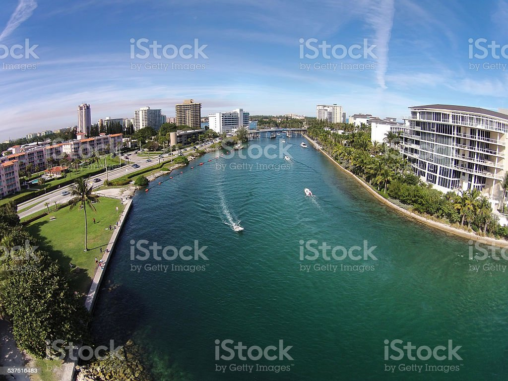 Aerial view of waterways in Florida stock photo