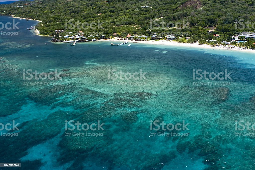 Aerial view of West Bay Beach and Caribbean Sea royalty-free stock photo