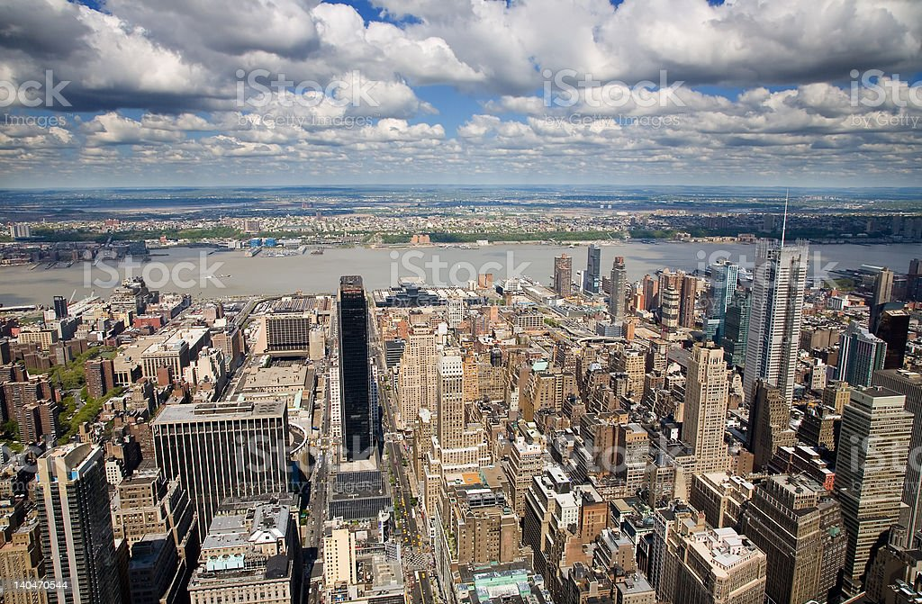 Aerial view of West Manhattan stock photo