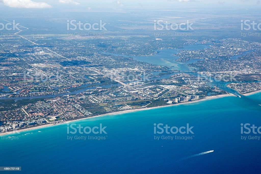 Aerial view of West Palm Beach and the Atlantic Ocean stock photo