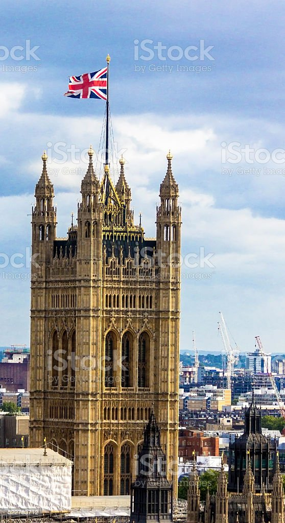 Aerial view of Westminster, London. stock photo