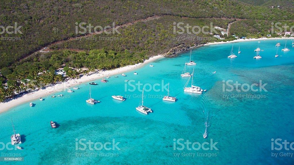 Aerial View of White Bay, Jost Van Dyke stock photo