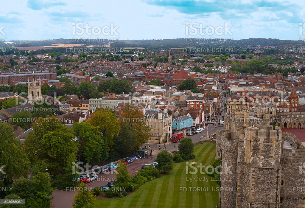 Aerial view of Windsor, Berkshire, England from the castle stock photo