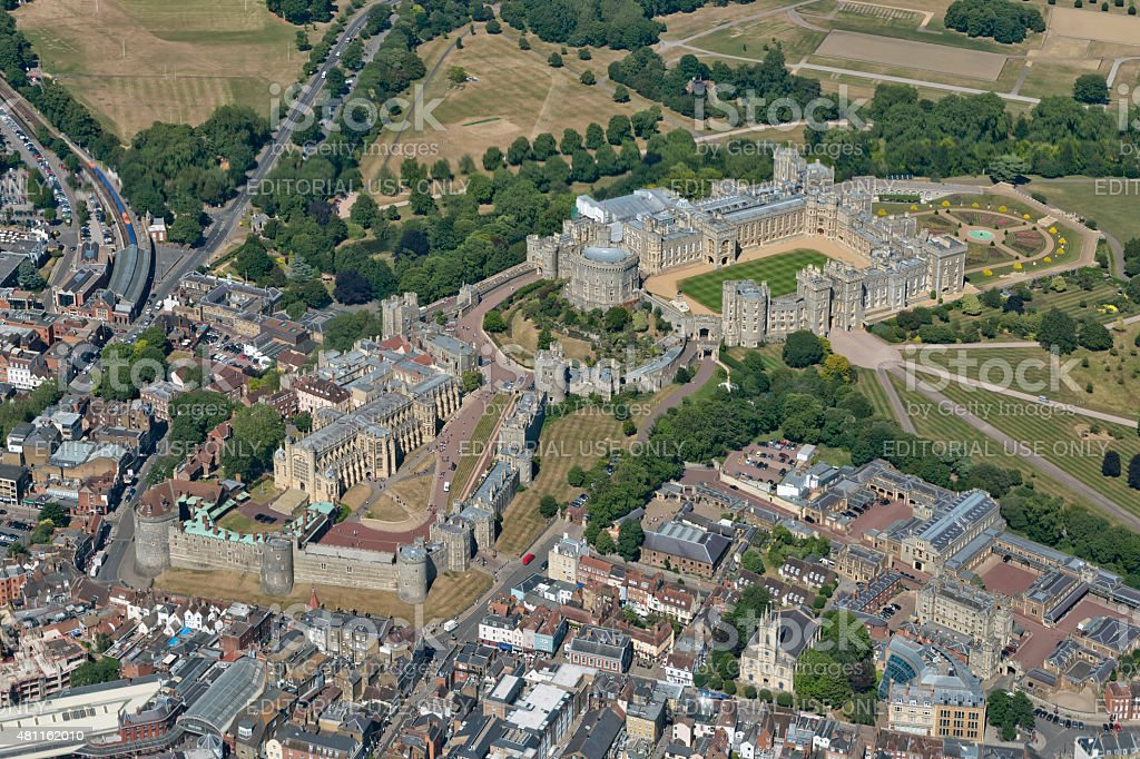 Aerial View of Windsor Castle stock photo