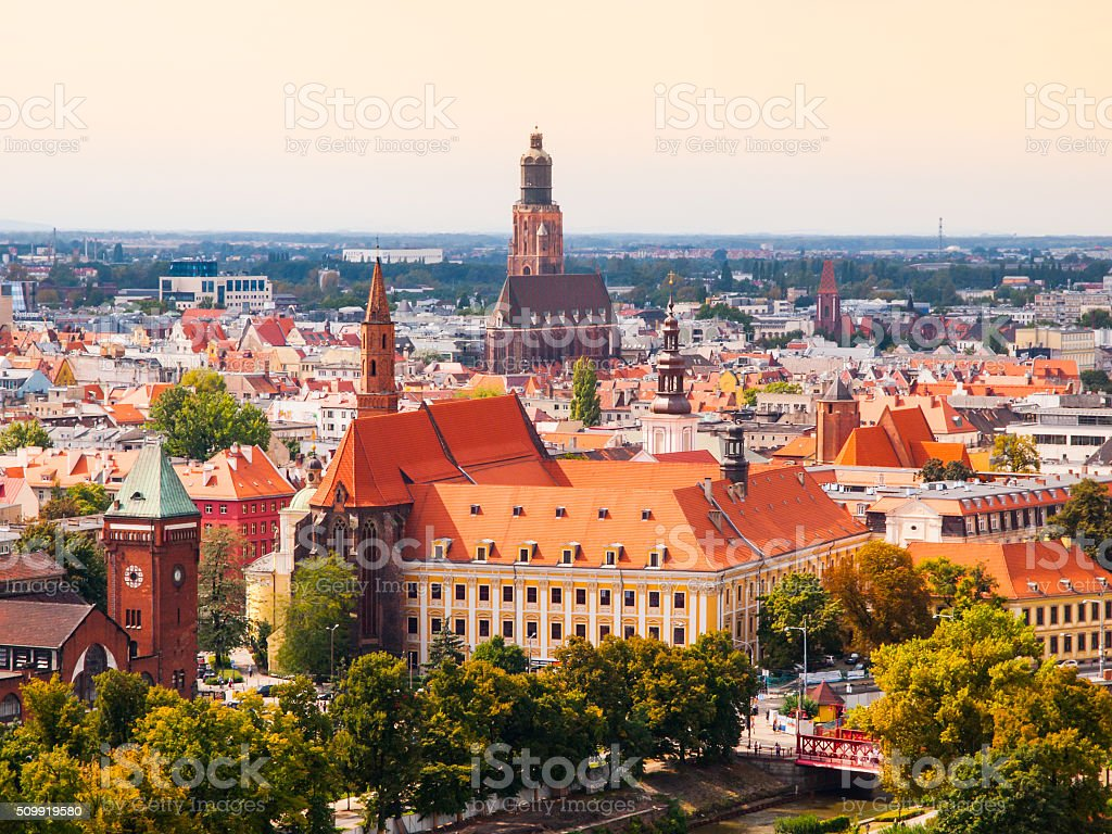 Aerial view of Wroclaw hitorical city cetre stock photo
