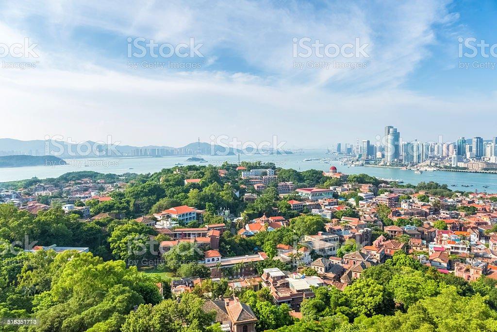 aerial view of xiamen gulangyu island stock photo