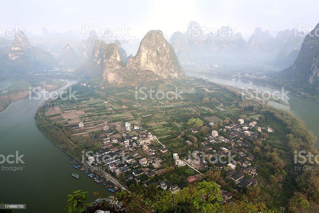 Aerial view of Xingping village, China royalty-free stock photo