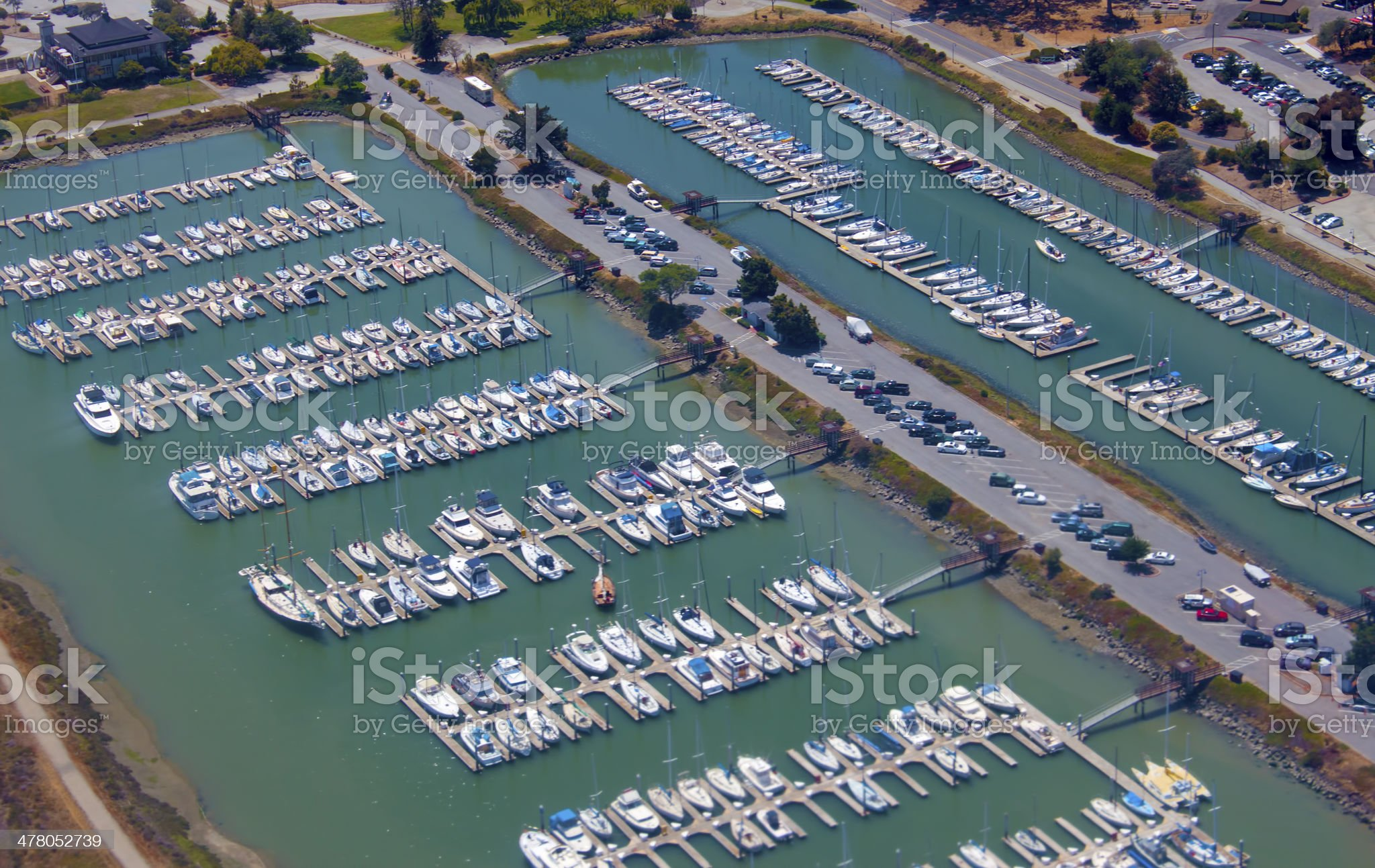 Aerial view of yachts royalty-free stock photo