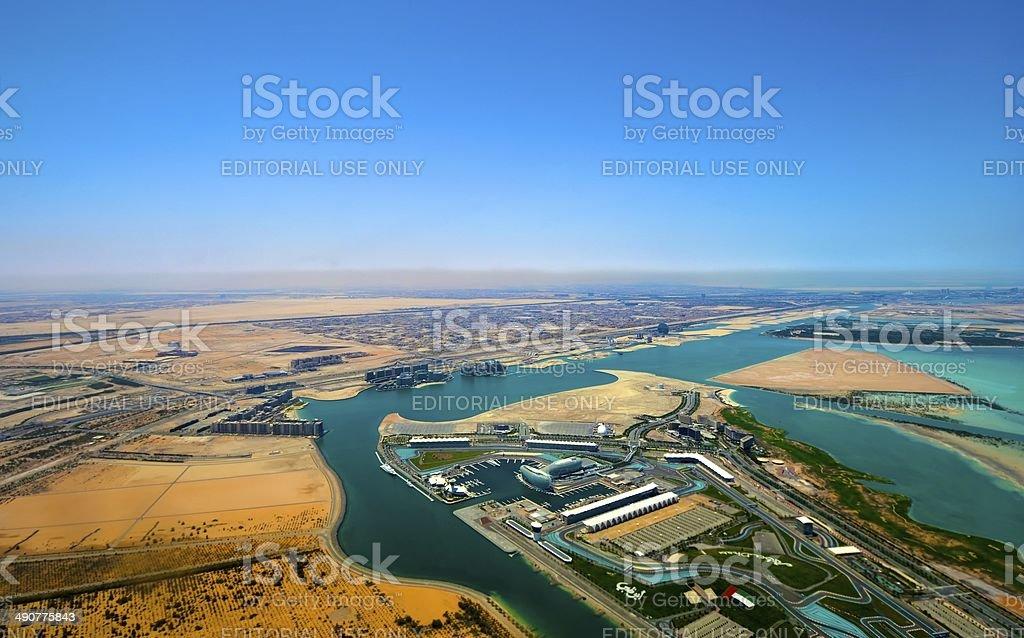 Aerial View of Yas Island Abu Dhabi stock photo