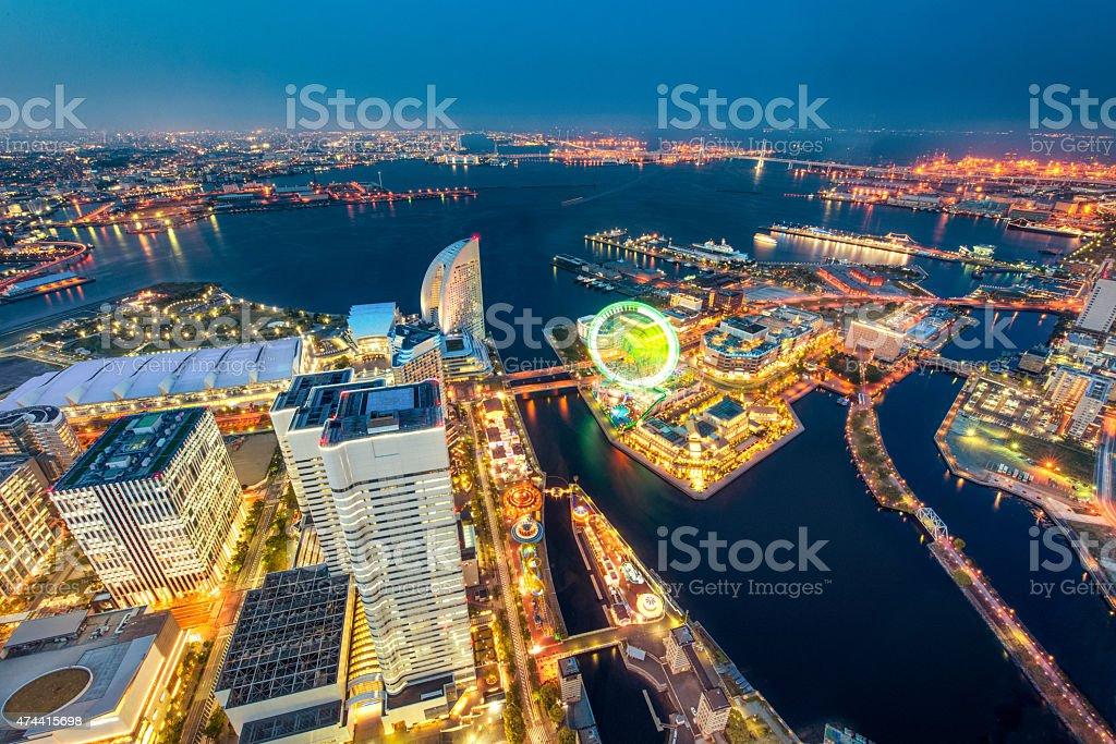 Aerial View of Yokohama Skyline in Japan stock photo