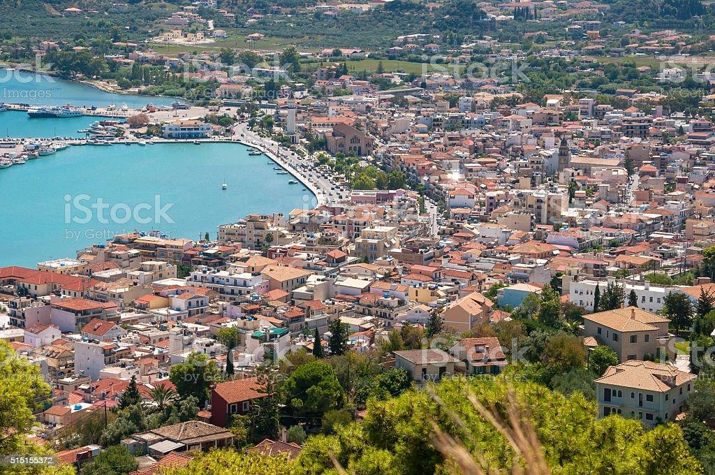 Aerial view of Zakynthos city stock photo