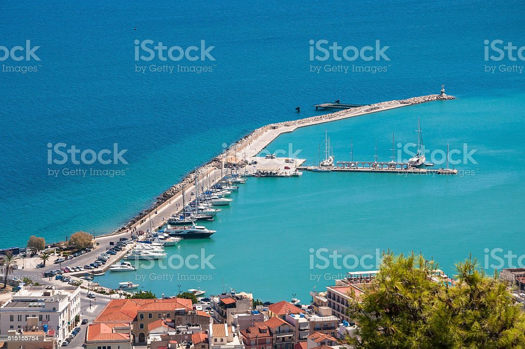 Aerial view of Zakynthos port stock photo