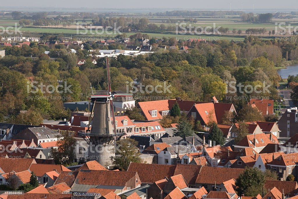 Aerial view of Zierikzee royalty-free stock photo