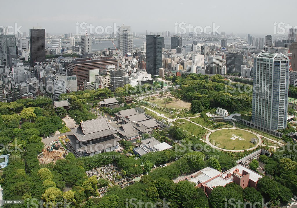 Aerial View of Zojo-Ji Temple stock photo