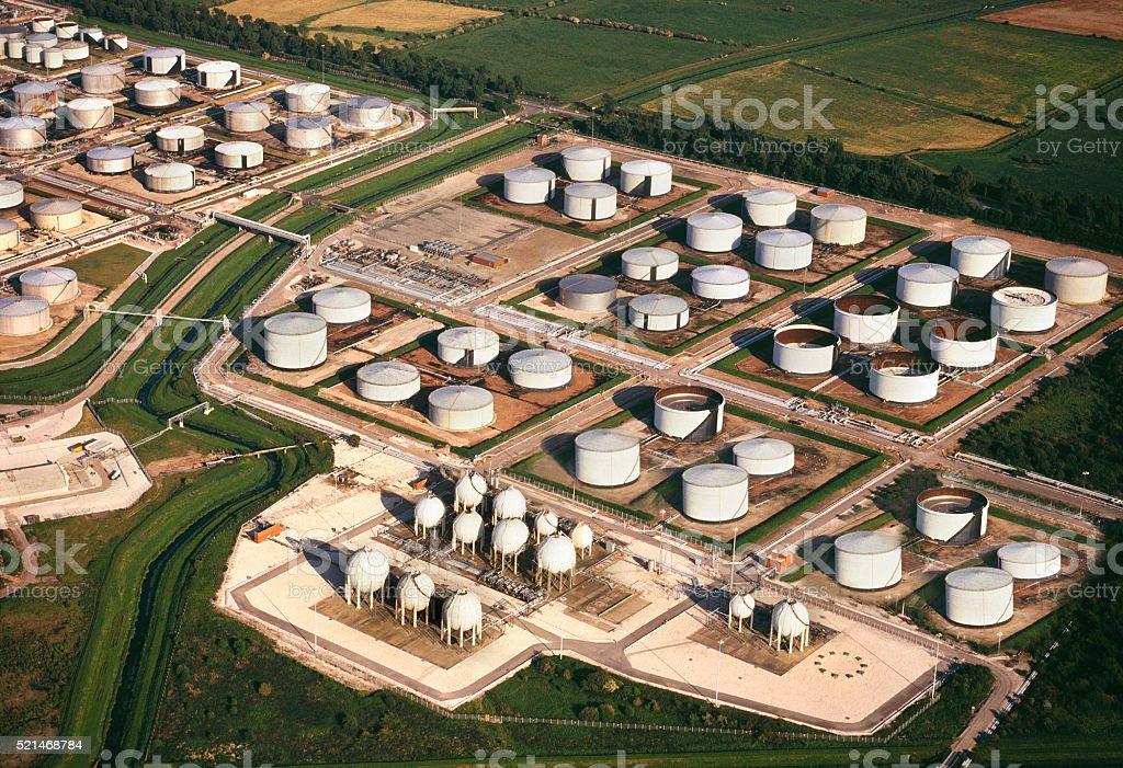 Aerial view - Oil Refinery Storage Tanks stock photo