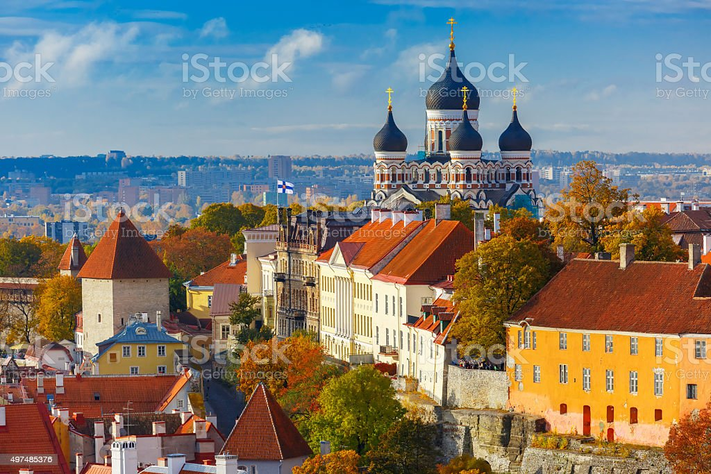Aerial view old town, Tallinn, Estonia stock photo