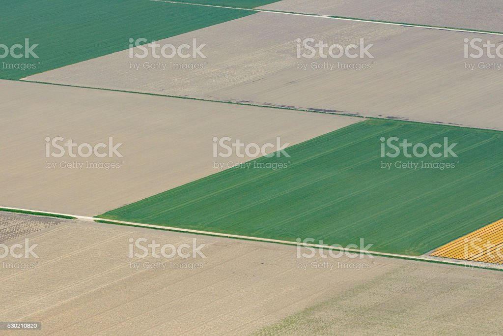 Aerial view on agricultural fields in The Netherlands stock photo