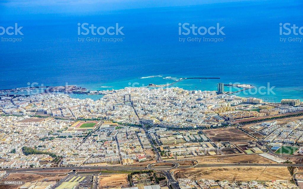 Aerial view on Arrecife (Lanzarote) stock photo