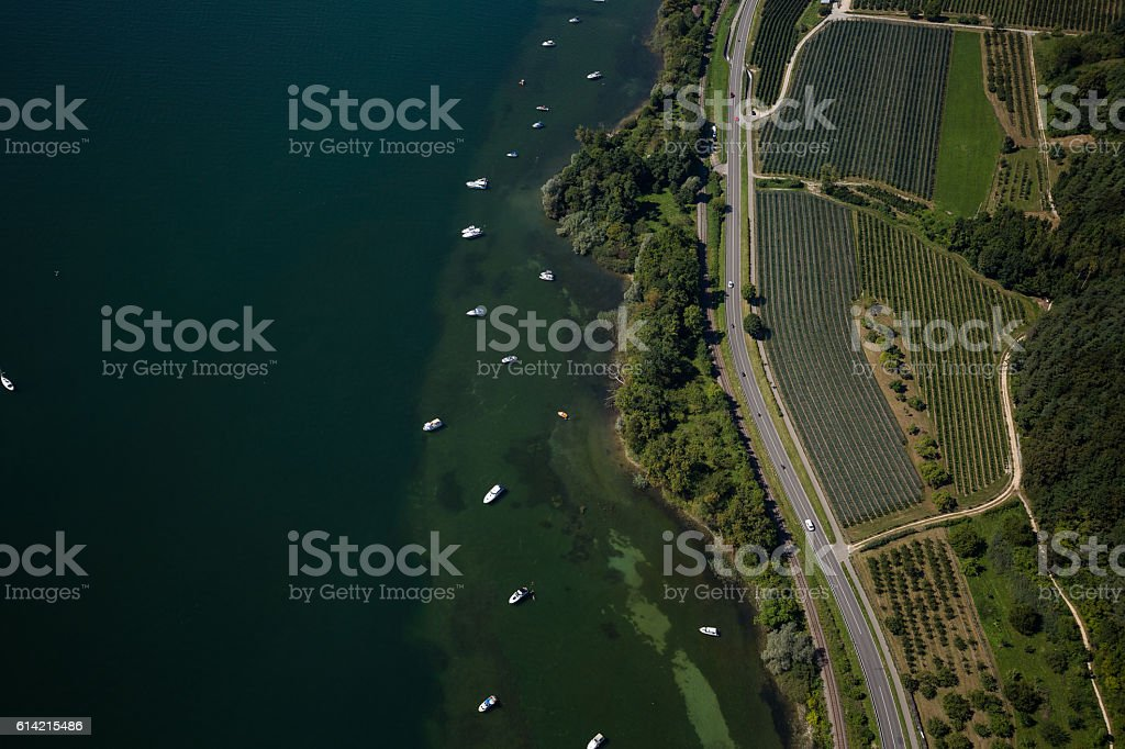 Aerial view on bay area stock photo