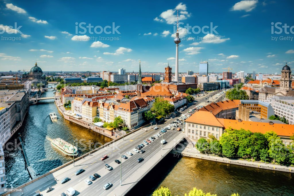 aerial view on Berlin with Tv-Tower and river stock photo