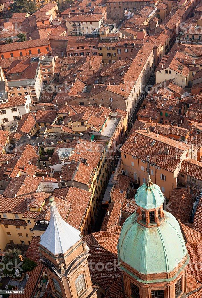 Aerial view on Bologna,  Emilia-Romagna, Italy stock photo