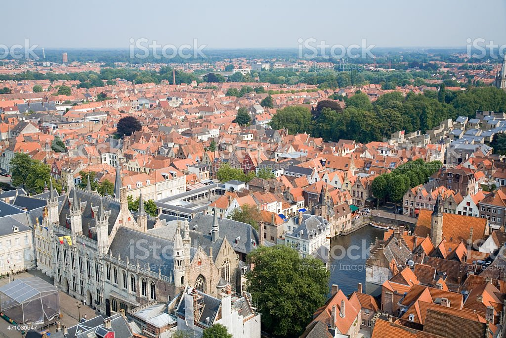 Aerial view on Bruges and surroundings stock photo