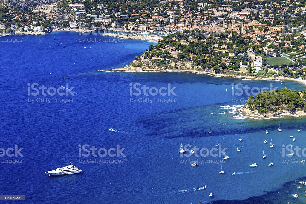 Aerial view on Cassis and Calanque Coast, Southern France stock photo