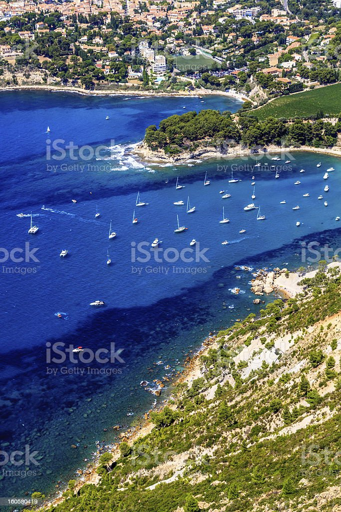 Aerial view on Cassis and Calanque Coast, Southern France royalty-free stock photo